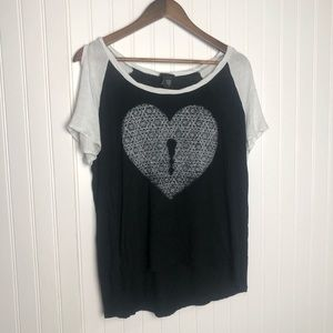 Torrid Cold Shoulder Key Heart Black Shirt